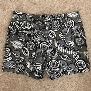 LOFT The Riviera Green and Black Floral Shorts